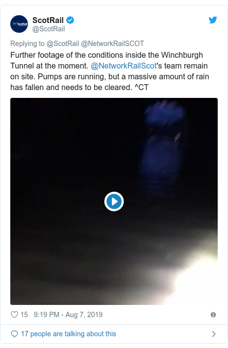 Twitter post by @ScotRail: Further footage of the conditions inside the Winchburgh Tunnel at the moment. @NetworkRailScot's team remain on site. Pumps are running, but a massive amount of rain has fallen and needs to be cleared. ^CT