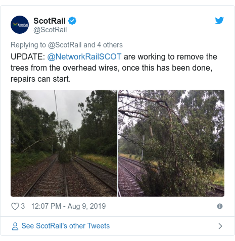 Twitter post by @ScotRail: UPDATE  @NetworkRailSCOT are working to remove the trees from the overhead wires, once this has been done, repairs can start.
