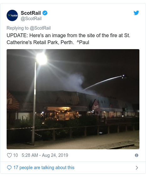 Twitter post by @ScotRail: UPDATE  Here's an image from the site of the fire at St. Catherine's Retail Park, Perth.  ^Paul