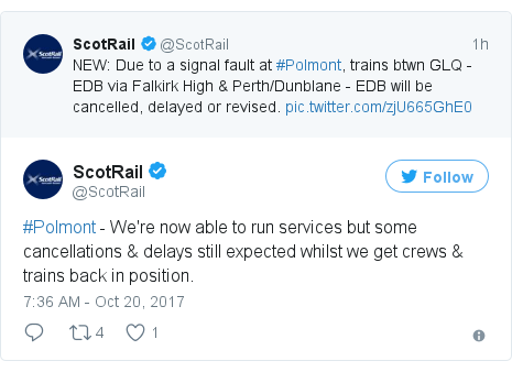 Twitter post by @ScotRail: #Polmont - We're now able to run services but some cancellations & delays still expected whilst we get crews & trains back in position.