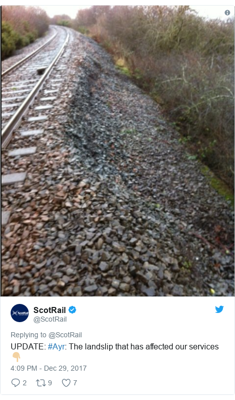Twitter post by @ScotRail: UPDATE  #Ayr  The landslip that has affected our services 👇🏼