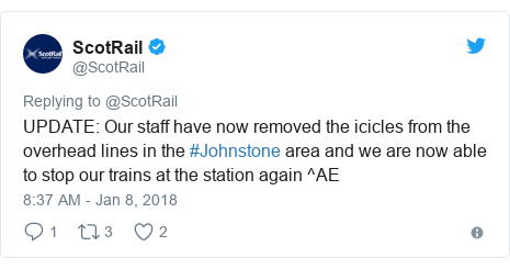 Twitter post by @ScotRail: UPDATE  Our staff have now removed the icicles from the overhead lines in the #Johnstone area and we are now able to stop our trains at the station again ^AE