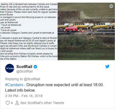 Twitter post by @ScotRail: #Carstairs - Disruption now expected until at least 18 00. Latest info below.