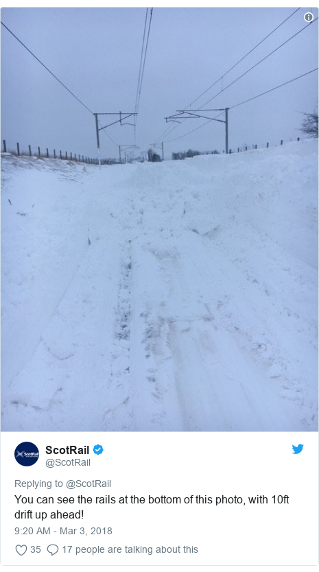 Twitter post by @ScotRail: You can see the rails at the bottom of this photo, with 10ft drift up ahead!