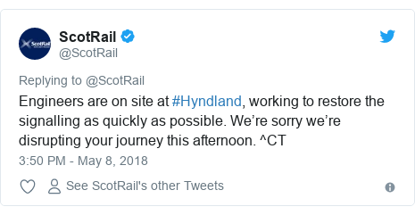 Twitter post by @ScotRail: Engineers are on site at #Hyndland, working to restore the signalling as quickly as possible. We're sorry we're disrupting your journey this afternoon. ^CT