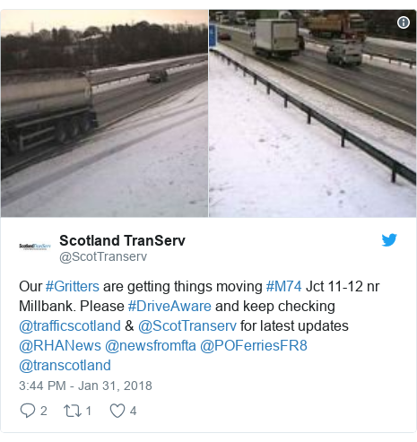 Twitter post by @ScotTranserv: Our #Gritters are getting things moving #M74 Jct 11-12 nr Millbank. Please #DriveAware and keep checking @trafficscotland & @ScotTranserv for latest updates @RHANews @newsfromfta @POFerriesFR8 @transcotland