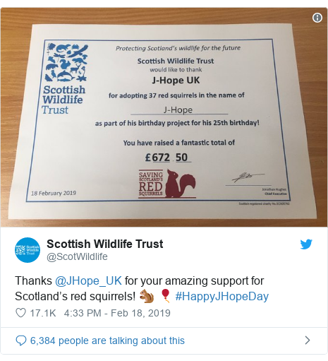 Twitter post by @ScotWildlife: Thanks @JHope_UK for your amazing support for Scotland's red squirrels! 🐿 🎈 #HappyJHopeDay