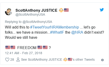 Twitter post by @ScottAnthonyUSA: Will add this to #TweetYourNRAMembership ... let's go folks... we have a mission...#WhatIF the @NRA didn't exist?  Would we still have 🇺🇸🇺🇸  FREEDOM 🇺🇸🇺🇸 ?