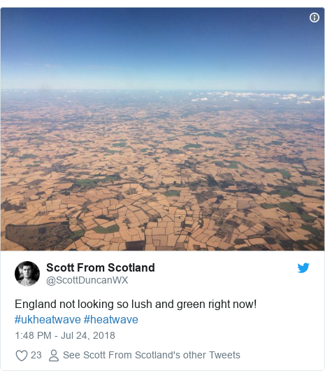 Twitter post by @ScottDuncanWX: England not looking so lush and green right now! #ukheatwave #heatwave