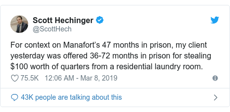 Twitter post by @ScottHech: For context on Manafort's 47 months in prison, my client yesterday was offered 36-72 months in prison for stealing $100 worth of quarters from a residential laundry room.