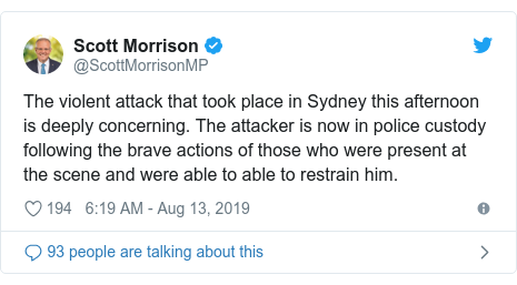 Twitter post by @ScottMorrisonMP: The violent attack that took place in Sydney this afternoon is deeply concerning. The attacker is now in police custody following the brave actions of those who were present at the scene and were able to able to restrain him.