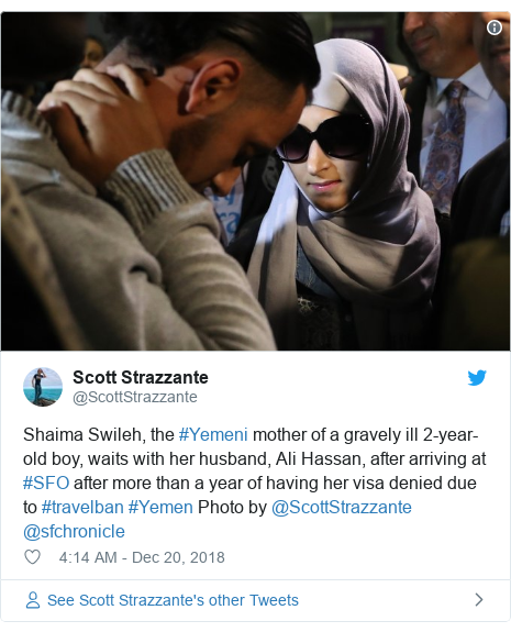 Twitter post by @ScottStrazzante: Shaima Swileh, the #Yemeni mother of a gravely ill 2-year-old boy, waits with her husband, Ali Hassan, after arriving at #SFO after more than a year of having her visa denied due to #travelban #Yemen Photo by @ScottStrazzante @sfchronicle