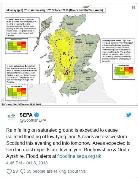 Twitter post by @ScottishEPA: Rain falling on saturated ground is expected to cause isolated flooding of low-lying land & roads across western Scotland this evening and into tomorrow. Areas expected to see the most impacts are Inverclyde, Renfrewshire & North Ayrshire. Flood alerts at