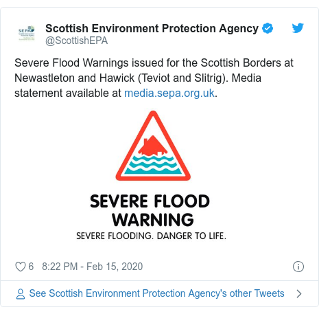 Twitter post by @ScottishEPA: Severe Flood Warnings issued for the Scottish Borders at Newastleton and Hawick (Teviot and Slitrig). Media statement available at .
