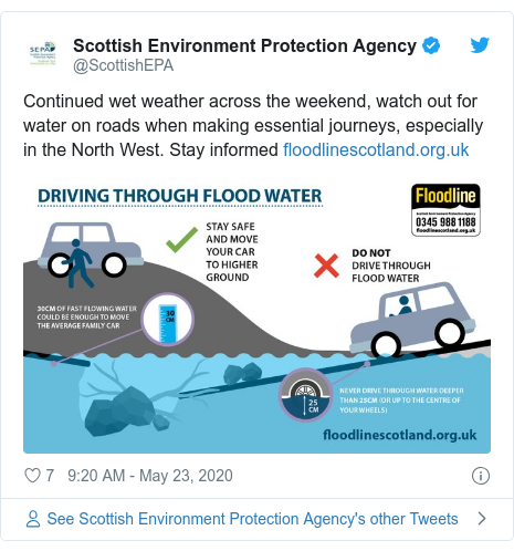 Twitter post by @ScottishEPA: Continued wet weather across the weekend, watch out for water on roads when making essential journeys, especially in the North West. Stay informed