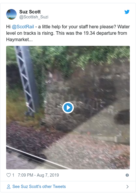 Twitter post by @Scottish_Suzi: Hi @ScotRail - a little help for your staff here please? Water level on tracks is rising. This was the 19.34 departure from Haymarket...