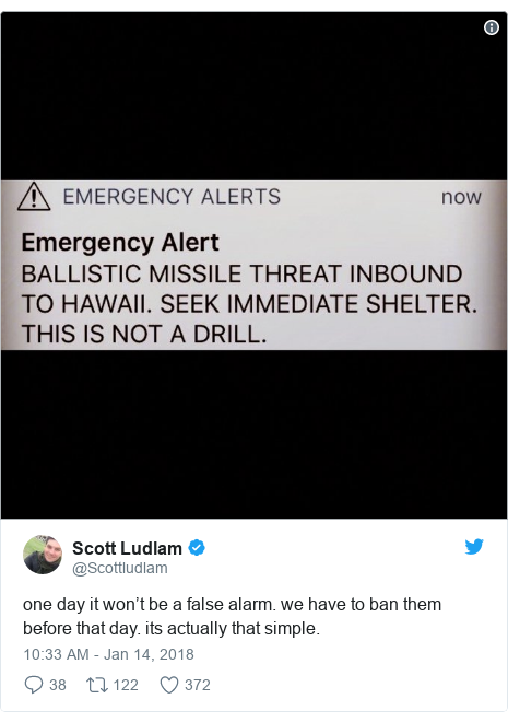 Twitter post by @Scottludlam: one day it won't be a false alarm. we have to ban them before that day. its actually that simple.