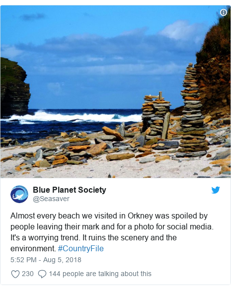 Twitter post by @Seasaver: Almost every beach we visited in Orkney was spoiled by people leaving their mark and for a photo for social media. It's a worrying trend. It ruins the scenery and the environment. #CountryFile