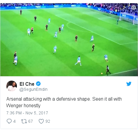 Twitter post by @SegunEmdin: Arsenal attacking with a defensive shape. Seen it all with Wenger honestly