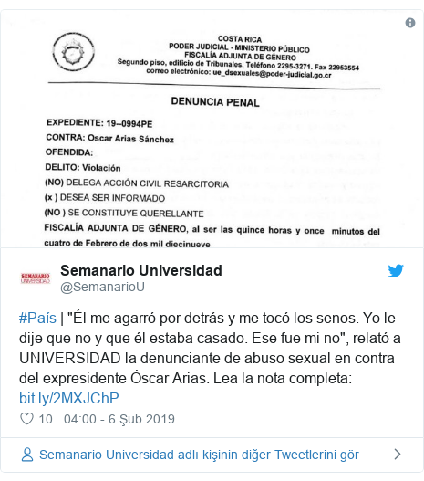 """@SemanarioU tarafından yapılan Twitter paylaşımı: #País   """"Él me agarró por detrás y me tocó los senos. Yo le dije que no y que él estaba casado. Ese fue mi no"""", relató a UNIVERSIDAD la denunciante de abuso sexual en contra del expresidente Óscar Arias. Lea la nota completa"""