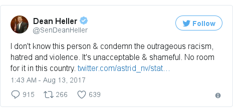 Twitter post by @SenDeanHeller