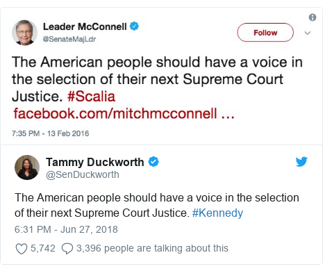 Twitter post by @SenDuckworth: The American people should have a voice in the selection of their next Supreme Court Justice. #Kennedy