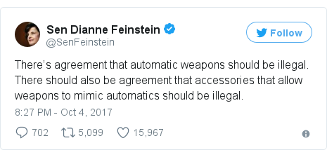 Twitter post by @SenFeinstein: There's agreement that automatic weapons should be illegal. There should also be agreement that accessories that allow weapons to mimic automatics should be illegal.
