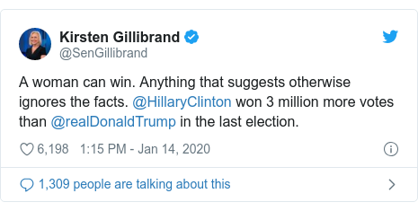 Twitter post by @SenGillibrand: A woman can win. Anything that suggests otherwise ignores the facts. @HillaryClinton won 3 million more votes than @realDonaldTrump in the last election.