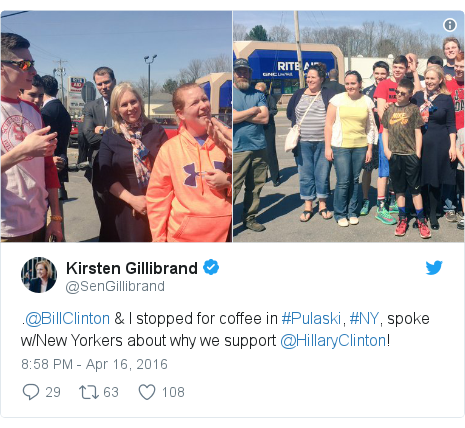 Twitter post by @SenGillibrand: .@BillClinton & I stopped for coffee in #Pulaski, #NY, spoke w/New Yorkers about why we support @HillaryClinton!