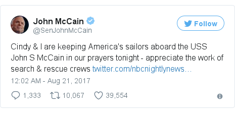 Twitter post by @SenJohnMcCain
