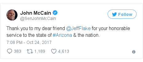 Twitter post by @SenJohnMcCain: Thank you to my dear friend @JeffFlake for your honorable service to the state of #Arizona & the nation.