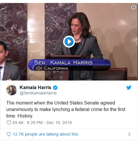 Twitter post by @SenKamalaHarris: The moment when the United States Senate agreed unanimously to make lynching a federal crime for the first time. History.