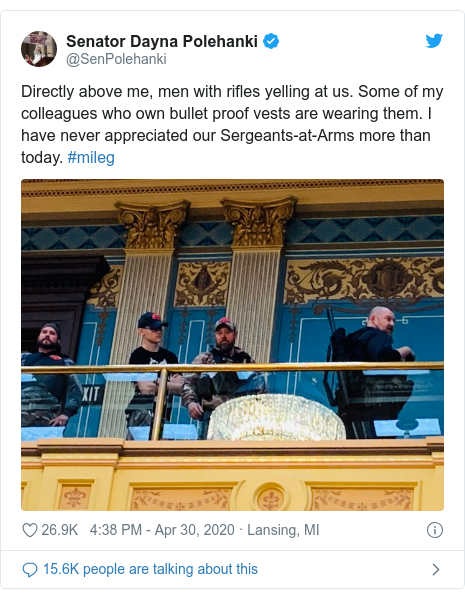 Twitter post by @SenPolehanki: Directly above me, men with rifles yelling at us. Some of my colleagues who own bullet proof vests are wearing them. I have never appreciated our Sergeants-at-Arms more than today. #mileg