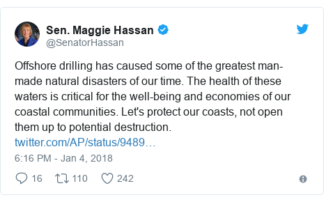 Twitter post by @SenatorHassan: Offshore drilling has caused some of the greatest man-made natural disasters of our time. The health of these waters is critical for the well-being and economies of our coastal communities. Let's protect our coasts, not open them up to potential destruction.
