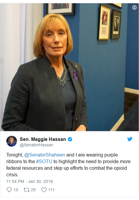Twitter post by @SenatorHassan: Tonight, @SenatorShaheen and I are wearing purple ribbons to the #SOTU to highlight the need to provide more federal resources and step up efforts to combat the opioid crisis.