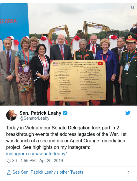 Twitter post by @SenatorLeahy: Today in Vietnam our Senate Delegation took part in 2 breakthrough events that address legacies of the War. 1st was launch of a second major Agent Orange remediation project. See highlights on my Instagram