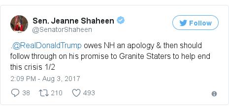 Twitter post by @SenatorShaheen