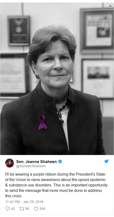 Twitter post by @SenatorShaheen: I'll be wearing a purple ribbon during the President's State of the Union to raise awareness about the opioid epidemic & substance use disorders. This is an important opportunity to send the message that more must be done to address this crisis.