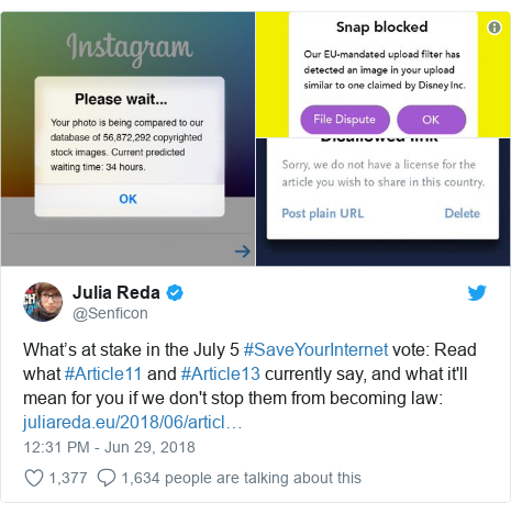 Twitter post by @Senficon: What's at stake in the July 5 #SaveYourInternet vote  Read what #Article11 and #Article13 currently say, and what it'll mean for you if we don't stop them from becoming law