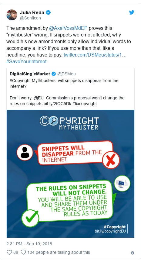 "Twitter post by @Senficon: The amendment by @AxelVossMdEP proves this ""mythbuster"" wrong  If snippets were not affected, why would his new amendments only allow individual words to accompany a link? If you use more than that, like a headline, you have to pay.  #SaveYourInternet"
