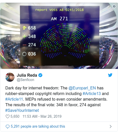 Twitter post by @Senficon: Dark day for internet freedom  The @Europarl_EN has rubber-stamped copyright reform including #Article13 and #Article11. MEPs refused to even consider amendments. The results of the final vote  348 in favor, 274 against #SaveYourInternet