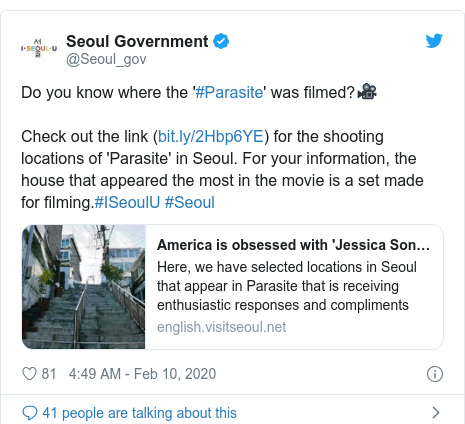 Twitter post by @Seoul_gov: Do you know where the '#Parasite' was filmed?🎥Check out the link () for the shooting locations of 'Parasite' in Seoul. For your information, the house that appeared the most in the movie is a set made for filming.#ISeoulU #Seoul