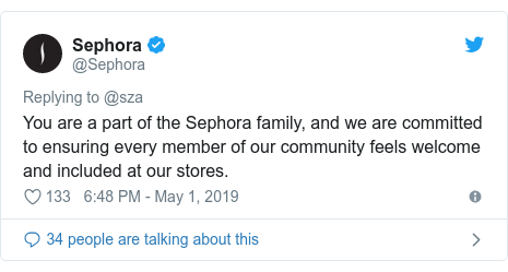 Twitter post by @Sephora: You are a part of the Sephora family, and we are committed to ensuring every member of our community feels welcome and included at our stores.