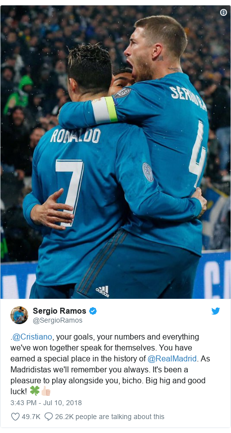 Twitter post by @SergioRamos: .@Cristiano, your goals, your numbers and everything we've won together speak for themselves. You have  earned a special place in the history of @RealMadrid. As Madridistas we'll remember you always. It's been a pleasure to play alongside you, bicho. Big hig and good luck! 🍀👍🏻