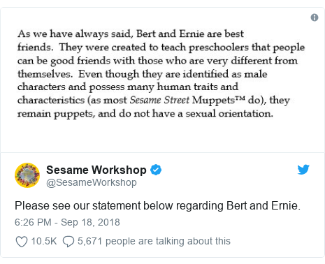 Twitter post by @SesameWorkshop: Please see our statement below regarding Bert and Ernie.