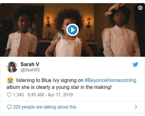 Twitter post by @Sesh85: 😭  listening to Blue Ivy signing on #BeyoncéHomecoming album she is clearly a young star in the making!