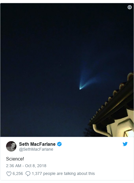 Twitter post by @SethMacFarlane: Science!