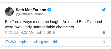 Twitter post by @SethMacFarlane: Rip Torn always made me laugh.  Artie and Bob Diamond were two utterly unforgettable characters.
