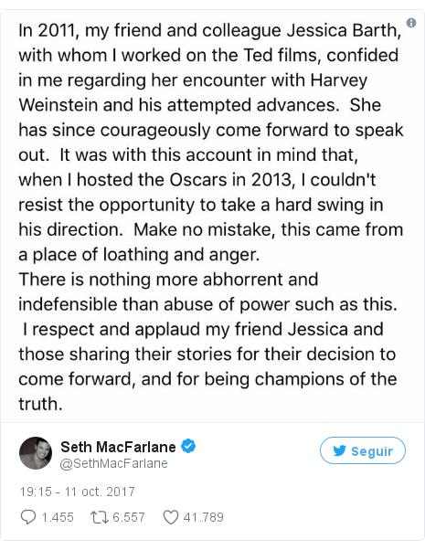 Publicación de Twitter por @SethMacFarlane: