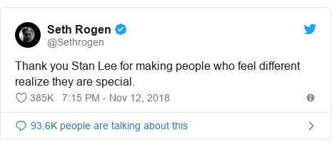 Twitter post by @Sethrogen: Thank you Stan Lee for making people who feel different realize they are special.